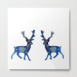 Winter Deer Snowflakes Metal Print