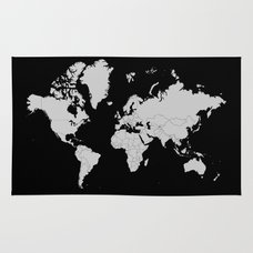 Dymaxion world map fuller projection map minimalist white on minimalist world map gray on black background rug gumiabroncs Images