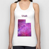 utah Tank Tops featuring Utah Map by Roger Wedegis