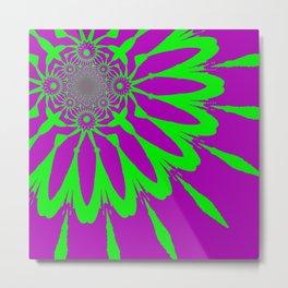 The Modern Flower Purple & Green Metal Print