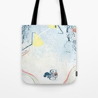 cycling Tote Bags featuring Winter Cycling by Dushan Milic