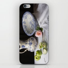 Delft blue china and apples still life iPhone Skin