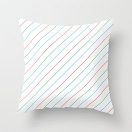Red and Blue Diagonal Stripe Pattern Throw Pillow
