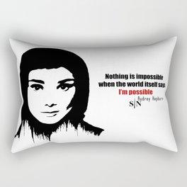Audrey Hepburn art design ( black and white)  Rectangular Pillow