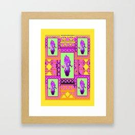 Decorative Purple-Gold-green Purple Iris Patterned Art. Framed Art Print