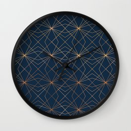 Navy & Copper Geo Lines Wall Clock