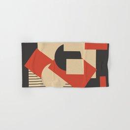 Geometrical abstract art deco mash-up scarlet beige Hand & Bath Towel