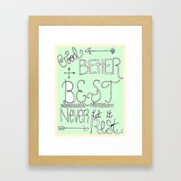 Mint Motivation  Framed Art Print