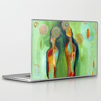 "flora bowley Laptop & iPad Skins featuring ""Two Flowers"" Original Painting by Flora Bowley by Flora Bowley"