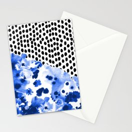Monroe - painted abstract watercolor ink polka dots dotted indigo blue minimalism nursery Stationery Cards
