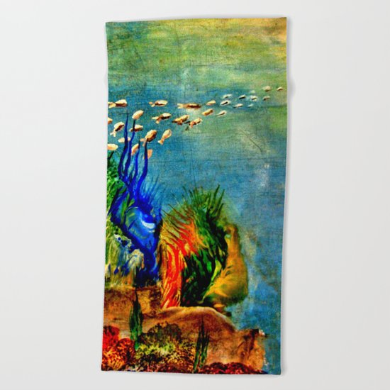 Fish Swarm Beach Towel