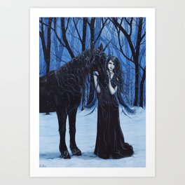 Midnight Travelers Gothic Fairy and Unicorn Art Print