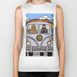 Golden Retriever Beach Biker Tank