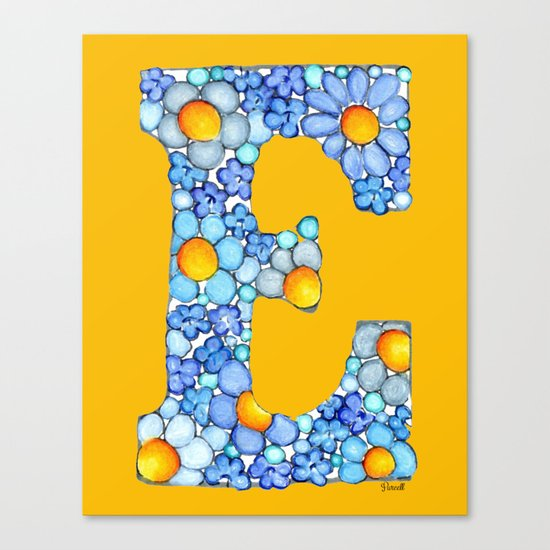 Blue Daisy Letter/ Initial E on Yellow-Orange Background Canvas Print