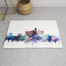 Los Angeles Watercolor Skyline Rug