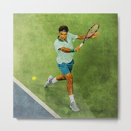 Roger Federer Tennis Backhand Metal Print