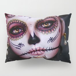Mexican Hibiscus Day of the Dead Skull Pillow Sham