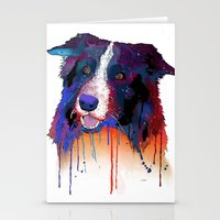 border collie Stationery Cards featuring Border Collie by Marlene Watson
