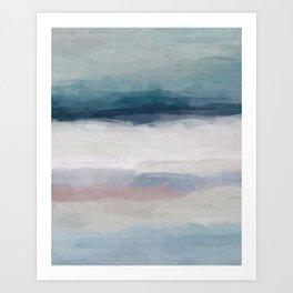 Dark Teal Blue, White, Pink, Light Blue Modern Wall Art, Ocean Waves Diptych Nursery Beach Decor Art Art Print