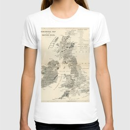 Vintage and Retro Geological Map British Isles T-shirt