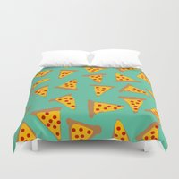 pizza Duvet Covers featuring pizza by AshlynDrake