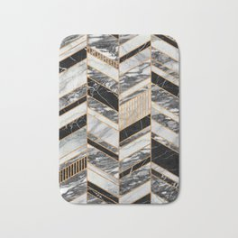 Abstract Chevron Pattern - Black and White Marble Bath Mat