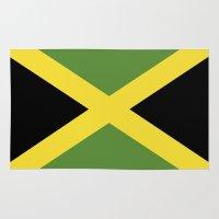 jamaica Area & Throw Rugs featuring jamaica country flag  by tony tudor