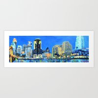 cincinnati Art Prints featuring Cincinnati Skyline by Emily Dwan