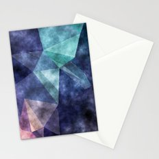 The deep blue sea- Watercolor triangles pattern in blue colors Stationery Cards