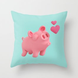 Rosa the Pig blow kisses Throw Pillow