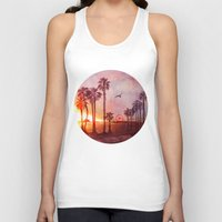 santa monica Tank Tops featuring Sunset in Santa Monica by Kate Tova