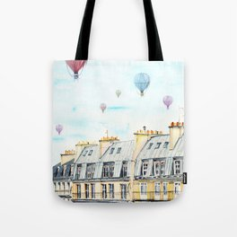 Architecture Paris and air balloon watercolor Tote Bag
