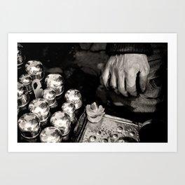 "Travel Photography ""Street photography shoe shiner"" - Istanbul, Turkey. Black and white photo print. Art Print"