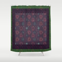 Lotus flower patchwork with green border, woodblock print style pattern Shower Curtain