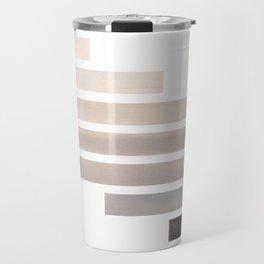 Grey Midcentury Modern Minimalist Staggered Stripes Rectangle Geometric Aztec Pattern Watercolor Art Travel Mug
