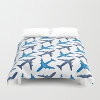 plane Duvet Covers featuring Plane Pattern by Jody Edwards Art