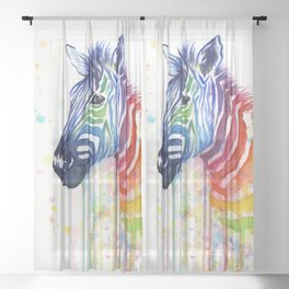 Zebra Watercolor Rainbow Animal Painting Ode to Fruit Stripes Sheer Curtain