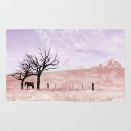 The Lone Horse On The Southwest Landscape Pasture Rug