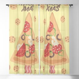 Pizza 4 Xmas Sheer Curtain
