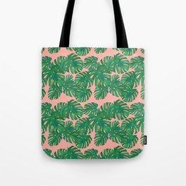Monstera Stripe on Pink Tote Bag