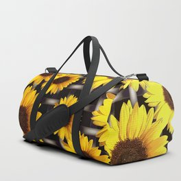 Bright Yellow Sunflower and Industrial Grid Pattern Duffle Bag