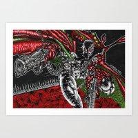 spawn Art Prints featuring SPAWN by NICHOLAS PRICE ART PRINTS