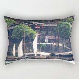 Yangtze River Village China 1 Rectangular Pillow