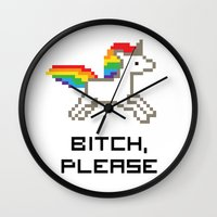 8 bit Wall Clocks featuring 8-bit Unicorn by Molly Quist