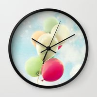 balloons Wall Clocks featuring balloons by Sylvia Cook Photography