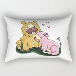 Bidoof and Slowpoke Love Rectangular Pillow