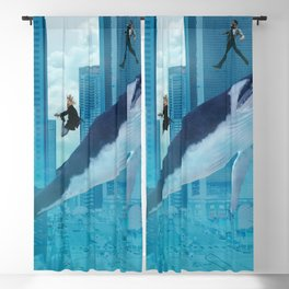 Whales and cities Blackout Curtain