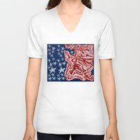 american flag V-neck T-shirts featuring American Flag by Brontosaurus