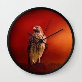 Hawk On A Hot Day Wall Clock