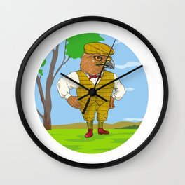 Hawk Outdoorsman Oval Drawing Wall Clock